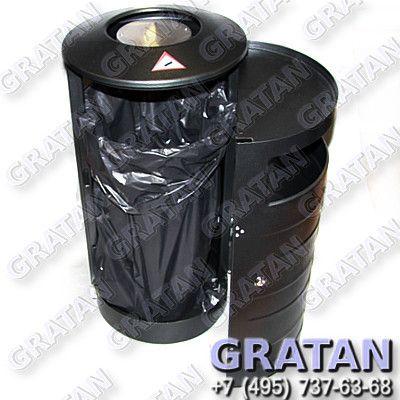Купить Урна цилиндрическая с пепельницей 70л недорого